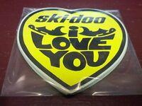 ski-doo, very rare, snowmobile sticker, heart shape, i love you , 3-1/4 X 3-3/8