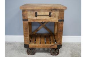 Industrial Mango Wood & Iron Cart Wheeled Bedside Cabinet - Drawer & Storage
