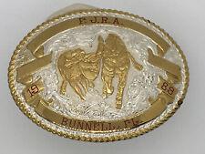 Vintage Crumrine Belt Buckle FJRA Bulldogging Rodeo Horse Rider Event Western
