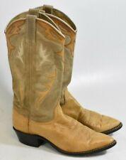 DAN POST TAN COWHIDE LEATHER SUEDE UPPER J TOE COWGIRL BOOTS #14036 WOMEN'S 8 M