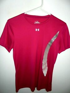 UNDER ARMOUR PINK W/SILVER TRIM SHORT SLEEVE PULLOVER TOP SZ MED