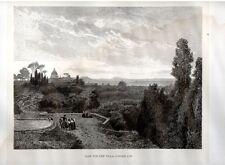 Stampa antica ROMA dal Gianicolo Villa Corsini 1880 Old print Rome Engraving