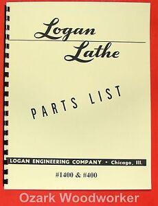 LOGAN 400 1400 Metal Lathe Parts Manual 0458