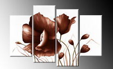 "BROWN FLORAL FLOWER CANVAS PICTURES WALL ART SPLIT MULTI PANEL 40"" ready 2 hang"