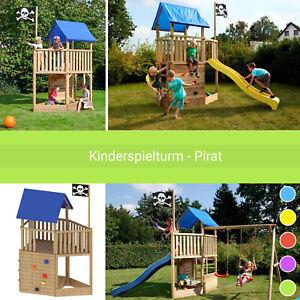 Spielturm Kinderspielhaus Klettergerüst Pirat inkl. Fahne, Rutsche & Schaukel
