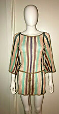 MISSONI ORANGE LABEL MULTI COLOR SHEER CROCHET BOHO TUNIC TOP S SMALL