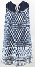 Monteau Girl Sz 10/12 Girls Navy Blue Cream 100% Polyester Shift Dress 168T