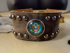 ARMY military lg Brown Leather snap button bracelet gifts for men