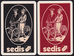 2 Single VINTAGE Swap/Playing Cards HAT COUPLE CYCLING ADV SEDIS BICYCLE CHAINS