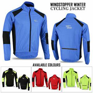 Mens Cycling Jacket Winter Thermal Fleece Windproof Windstopper Long Sleeve Coat