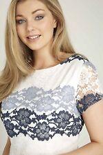 Roman Originals Ladies Grey Stripe Lace Shift Dress Occasion Party Sizes 10-20
