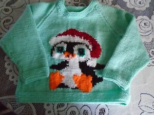 """New Hand Knitted Christmas Sweater 24"""" chest (aprox 3 yrs)"""