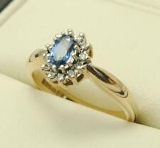 9carat 9k Yellow Gold Sapphire & Diamond Set Cluster Ring Size UK O - US 7
