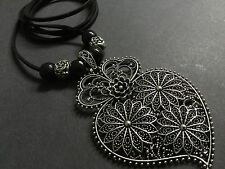 Long black Suede Necklace With A Huge 90mm statement flower heart  Pendant