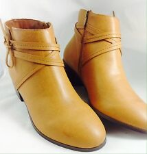 Large Size Ladies EVANS Tan Bow Wrap Ankle Boots 11 EEE PLUS SIZE ARIANA RRP 46
