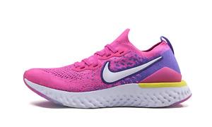 Womens Nike Epic React Flyknit 2 Running Shoes Pink Purple White CK0821 600