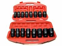 """18PC 3/4"""" DRIVE DEEP AIR IMPACT SOCKETS AXLE NUTS REMOVER INSTALLER SAE AND MM"""