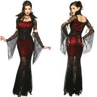 Sexy Womens Vampire Costume Lace Long Black Halloween Witch Fancy Dress Cosplay