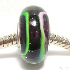 BLACK WITH GREEN & PINK LINES & FOIL SPECKLE Murano Glass European Bracelet Bead