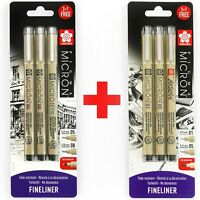 6 x Sakura Pigma Micron Fineliner Pens - 0.1/0.5mm/Brush + 0.5/0.8mm/PN - Black