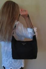 $880. genuine PRADA Italy SHOULDER PURSE Black LEATHER Vela COUTURE Hobo Bag