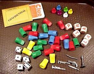 70 Game Pieces Clue Cards Place Markers Murder Weapons Dice Letter Cubes Vintage