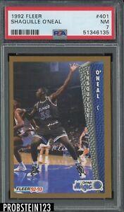 1992 Fleer #401 Shaquille O'Neal Magic RC Rookie HOF PSA 7 NM