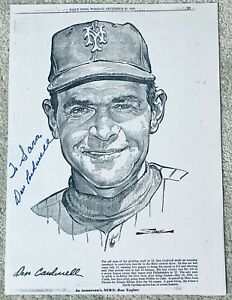 DON CARDWELL HAND SIGNED AUTOGRAPH NEW YORK DAILY NEWS LITHOGRAPH COA METS