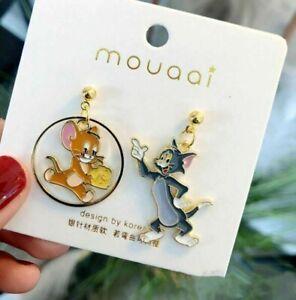 Tom & Jerry / Cat Mouse Style asymmetrical Dangle Stud Earrings Dress Accessory
