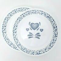 Set of 2 Corelle Blue Hearts Dinner Plates Dish Corning White Dinnerware Sponge