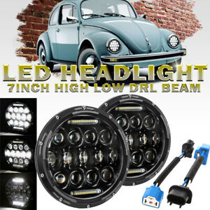 "2X 7"" LED Round headlight Hi/Low DRL Beam Angle Eyes for Volkswagen Beetle 67-93"