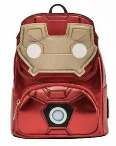 Loungefly Unisex Marvel Iron Man Light Up Mini Backpack Metallic Leather Bag