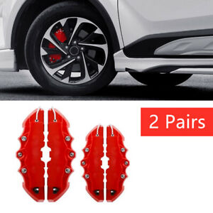 4pcs Front & Rear Universal Red Car Disc Brake Caliper Covers Accessories Kit