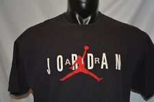 Air Jordan T Shirt Felt Letters Spell Out Jumpman Sz L Vintage Black Tee NBA #23