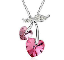NEW Womens Heart Hot Pink Crystal Rhinestone Silver Chain Pendant Necklace ----