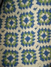 Vintage Knitted Handmade Granny Square Afghan Blanket Throw BLUE GREEN CREAM