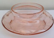 Pink Rose Coloured Glass Bowl engraved.