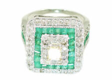 2.96ctw Diamond and Emerald Set in 18K White Gold Ring