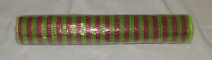 """Pink Green Deco Poly Mesh Ribbon New 21"""" Wide 10 Yards Long Crafts Foil Stripe"""