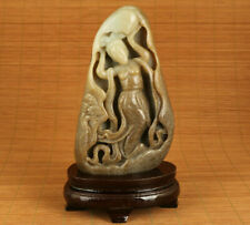 Antique old hetian jade Chinese hand carving belle art home table decoration