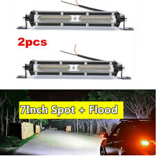 2pc 7inch 90W LED Work Light Bar Flood Spot Combo Driving Truck Trailer Lamp