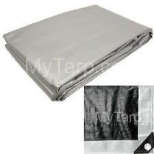 12' x 20' Silver Black Heavy Duty Tarp - Finished Size - Heavy Duty Cover