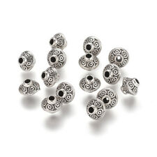 50pcs Tibetan Alloy Bicone Metal Beads Loose Spacers Carved Beading Craft 7x6mm