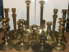 More details for mixed job lot of vintage & antique brass candle stick holders 99p start