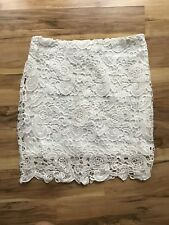 NWOT White Crochet Lace Overlay Above Knee Skirt Mini SZ S