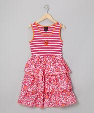 Girls Rule Pink Stripe Floral 100% Cotton Dress - Size 14
