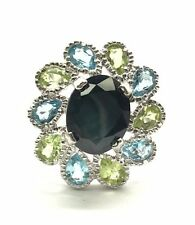 Sterling 925 Dark Blue Opic Sapphire Topaz / Peridot Halo Flower Cocktail Ring