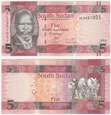 South Sudan 5 Pounds 2015 P-11a UNC Uncirculated Banknote - Ox Cattle