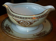MEITO F&B JAPAN CHINA RITZ GOLD ENCRUSTED w BLUE ROUND GRAVY BOAT w UNDERPLATE