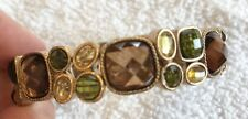Trendy Gold Tone Stretch Bracelet With Colored Gems EEUC